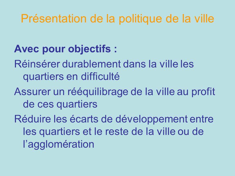 Présentation de la politique de la ville Avec pour objectifs : Réinsérer durablement dans la ville les quartiers en difficulté Assurer un rééquilibrag
