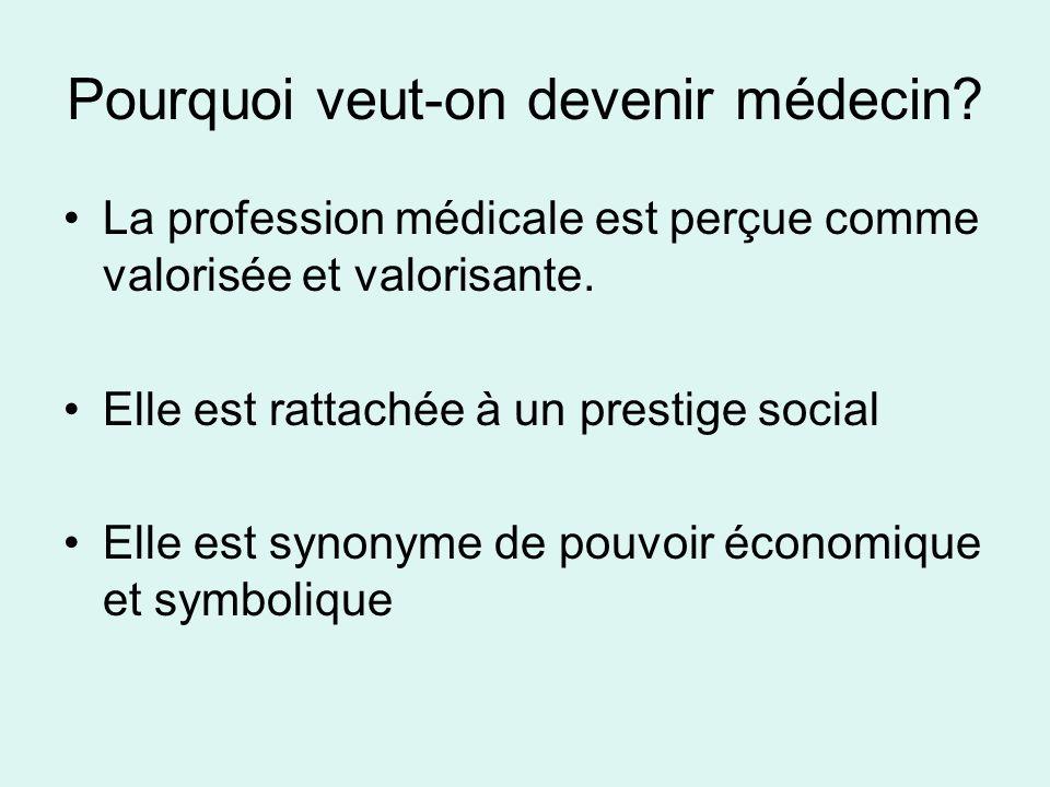 Pourquoi veut-on devenir médecin? La profession médicale est perçue comme valorisée et valorisante. Elle est rattachée à un prestige social Elle est s