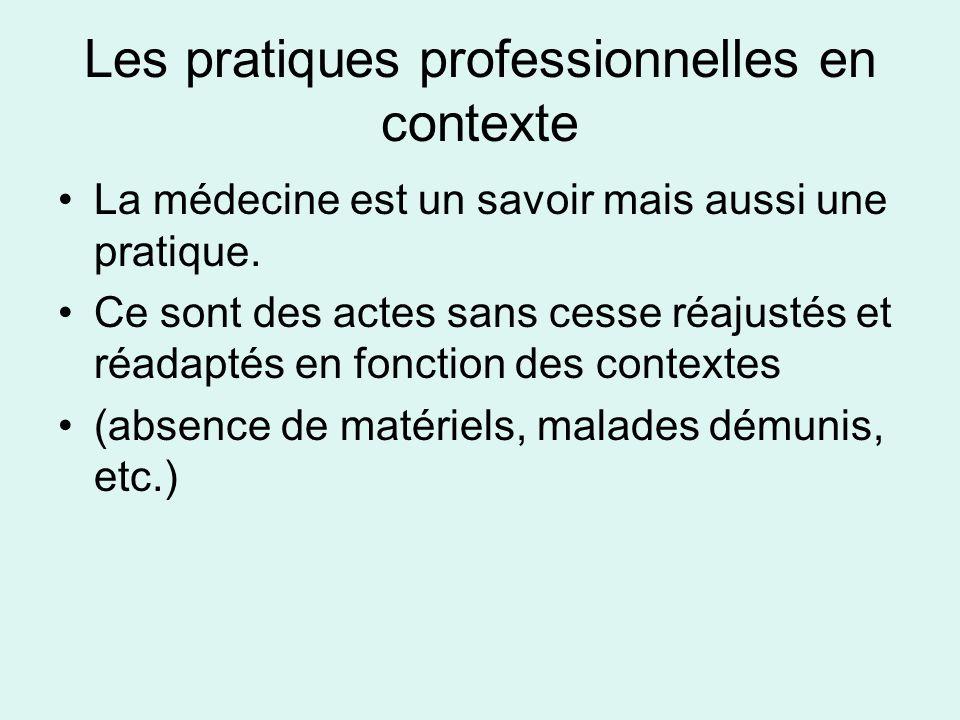Les pratiques professionnelles en contexte La médecine est un savoir mais aussi une pratique. Ce sont des actes sans cesse réajustés et réadaptés en f