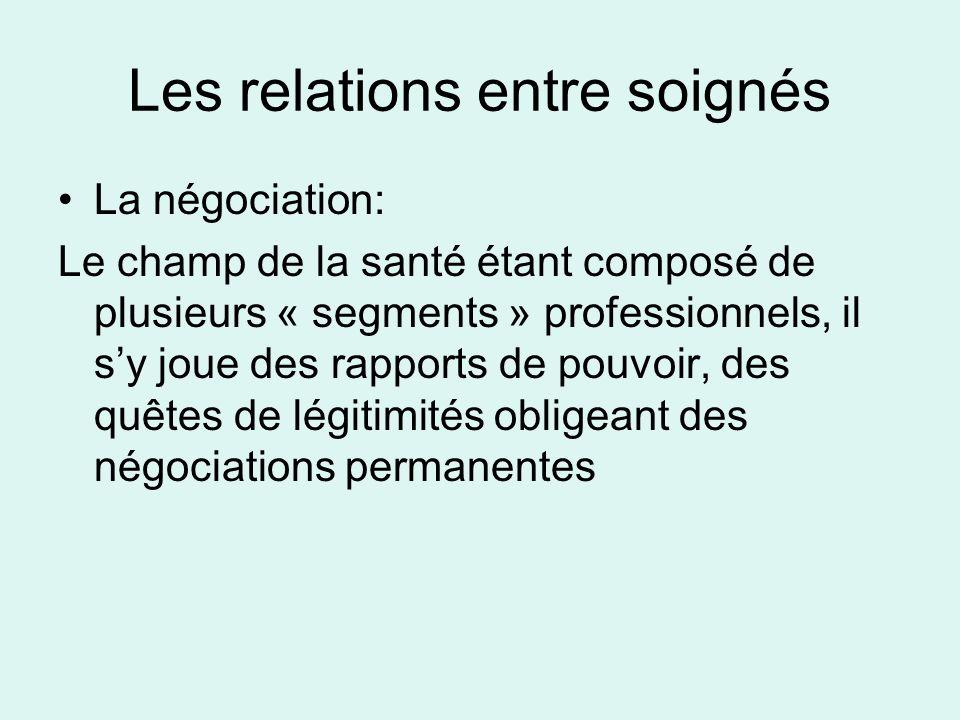 Les relations entre soignés La négociation: Le champ de la santé étant composé de plusieurs « segments » professionnels, il sy joue des rapports de po
