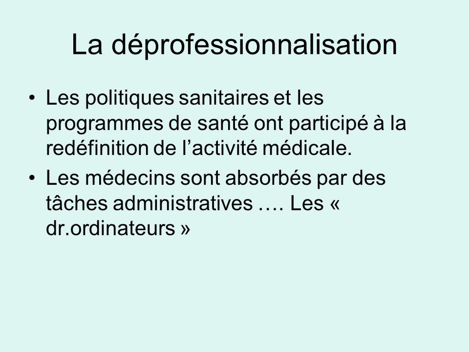 La déprofessionnalisation Les politiques sanitaires et les programmes de santé ont participé à la redéfinition de lactivité médicale. Les médecins son