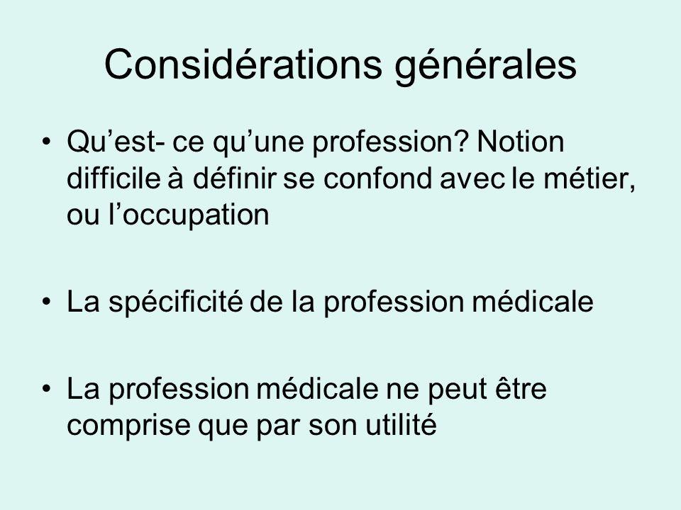 Considérations générales Quest- ce quune profession? Notion difficile à définir se confond avec le métier, ou loccupation La spécificité de la profess
