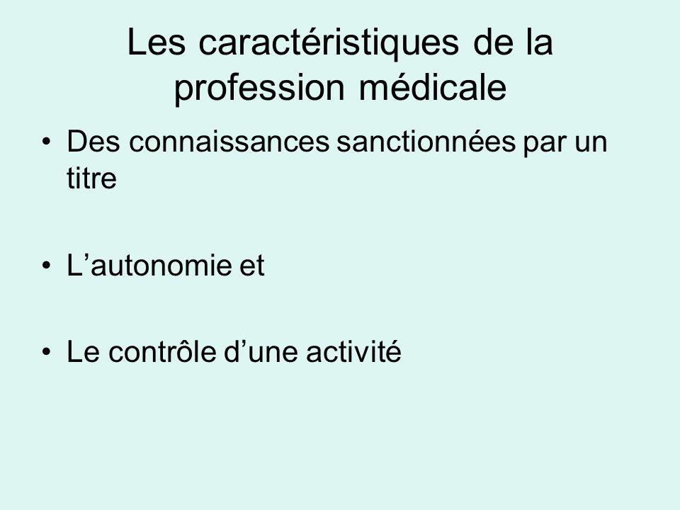 La profession est donc : « la compétence attribuée sur la base dun savoir spécialisé et la délégation faite par la société aux membres dun groupe pour exercer en toute autonomie lactivité sociale » (Freidson, 1984) Les caractéristiques de la profession médicale (1)