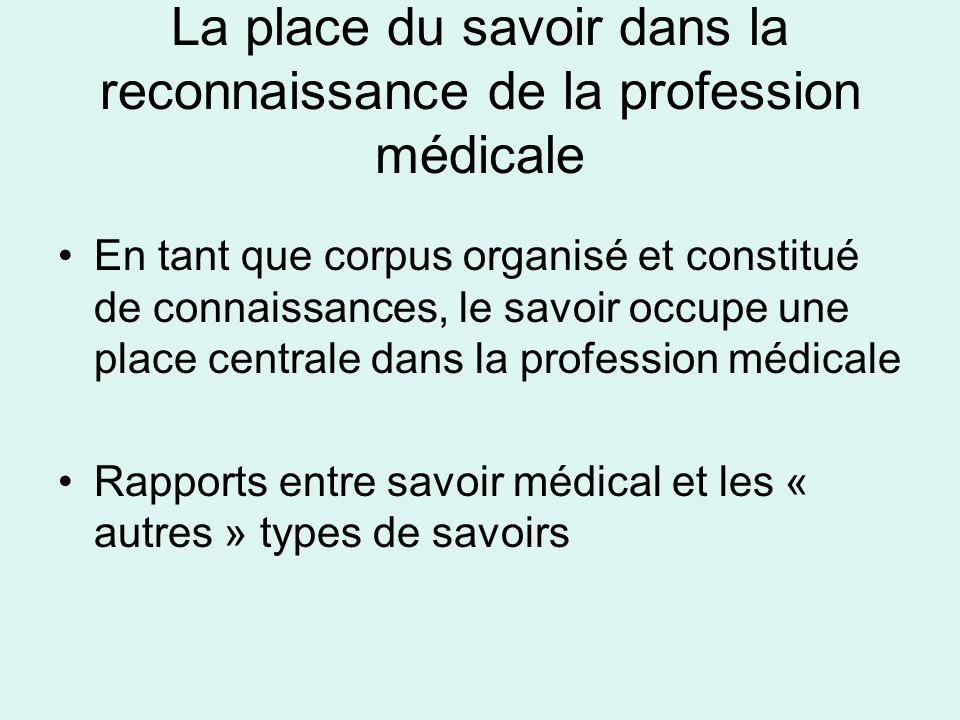 La place du savoir dans la reconnaissance de la profession médicale En tant que corpus organisé et constitué de connaissances, le savoir occupe une pl