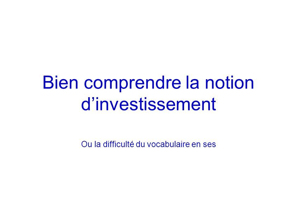 Bien comprendre la notion dinvestissement Ou la difficulté du vocabulaire en ses