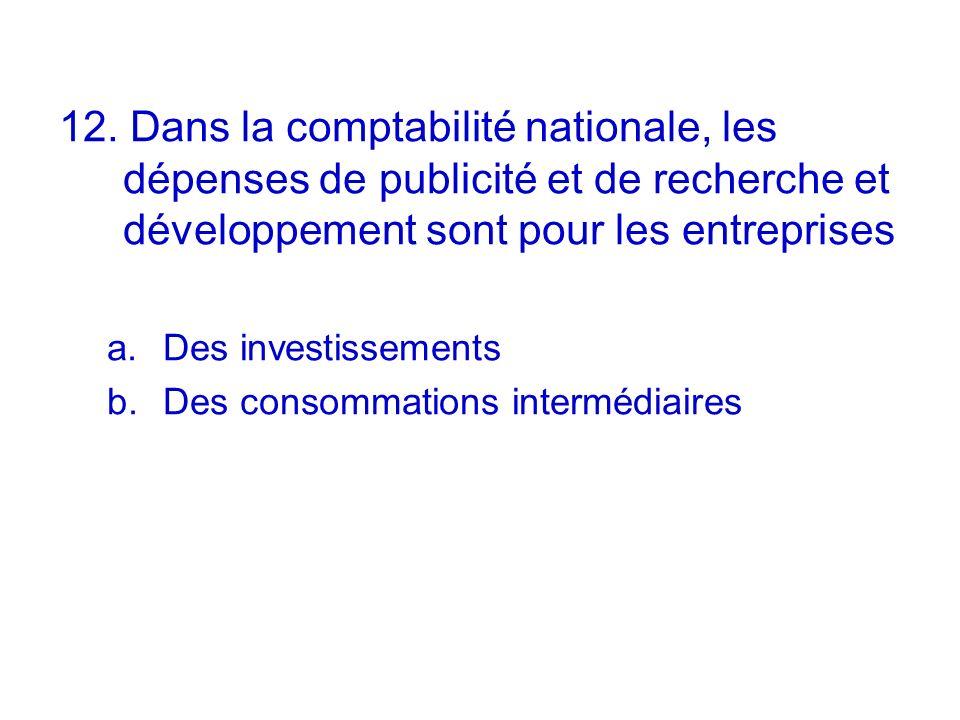 12. Dans la comptabilité nationale, les dépenses de publicité et de recherche et développement sont pour les entreprises a.Des investissements b.Des c