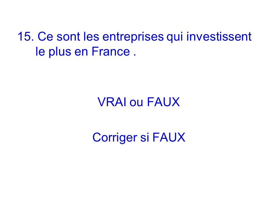 15. Ce sont les entreprises qui investissent le plus en France. VRAI ou FAUX Corriger si FAUX