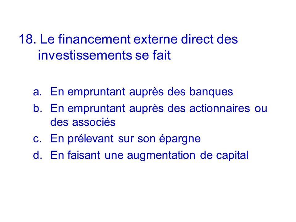 18. Le financement externe direct des investissements se fait a.En empruntant auprès des banques b.En empruntant auprès des actionnaires ou des associ