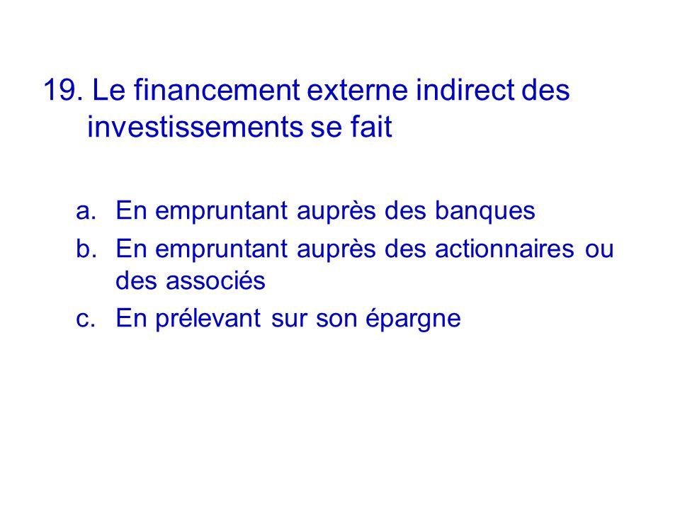 19. Le financement externe indirect des investissements se fait a.En empruntant auprès des banques b.En empruntant auprès des actionnaires ou des asso
