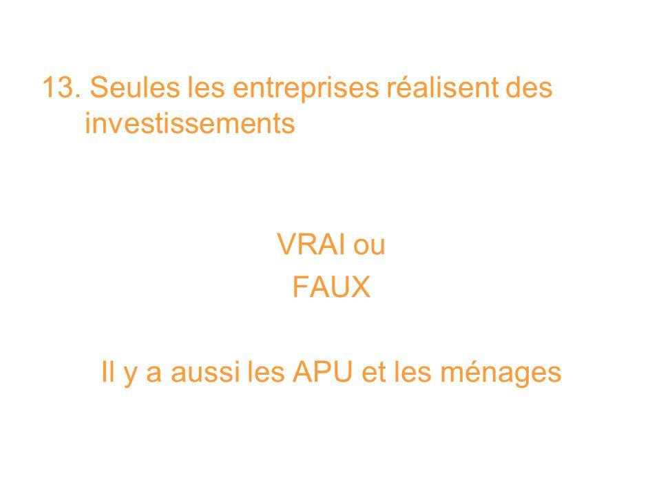 13. Seules les entreprises réalisent des investissements VRAI ou FAUX Il y a aussi les APU et les ménages