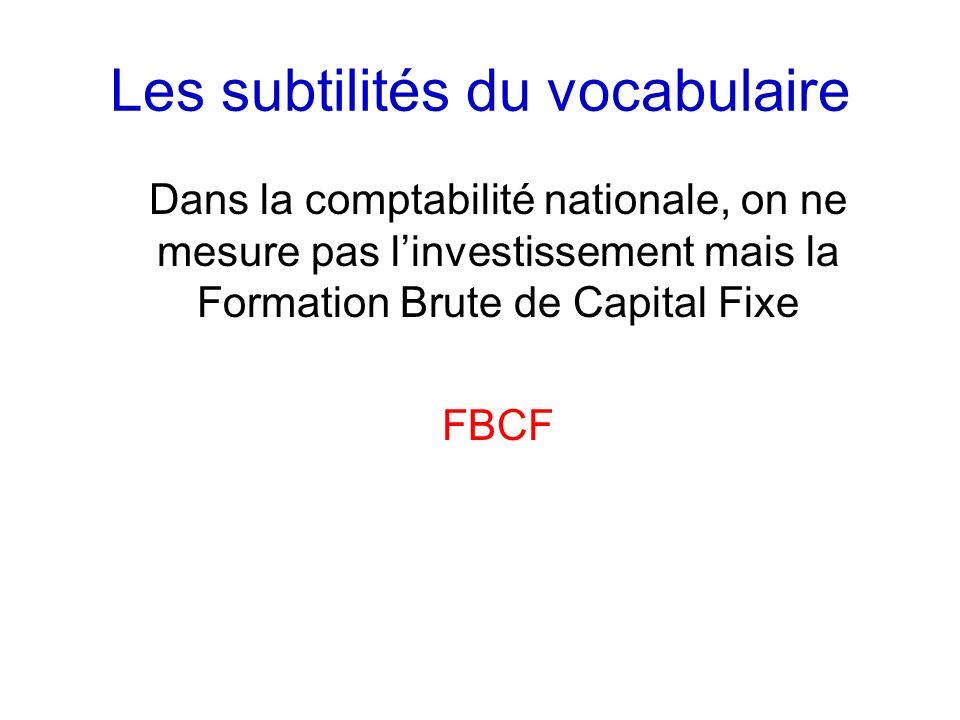 Les subtilités du vocabulaire Dans la comptabilité nationale, on ne mesure pas linvestissement mais la Formation Brute de Capital Fixe FBCF