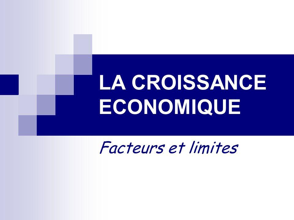 LA CROISSANCE ECONOMIQUE Facteurs et limites