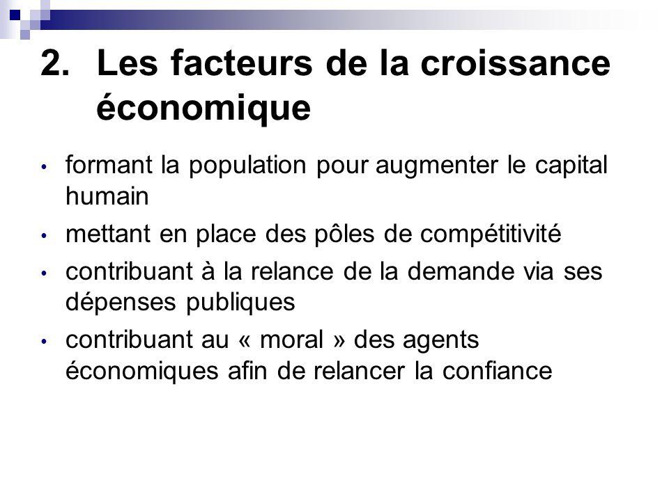 2.Les facteurs de la croissance économique formant la population pour augmenter le capital humain mettant en place des pôles de compétitivité contribu