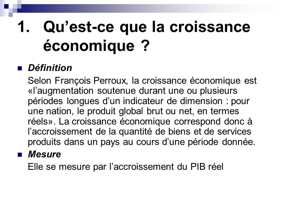1.Quest-ce que la croissance économique ? Définition Selon François Perroux, la croissance économique est «laugmentation soutenue durant une ou plusie