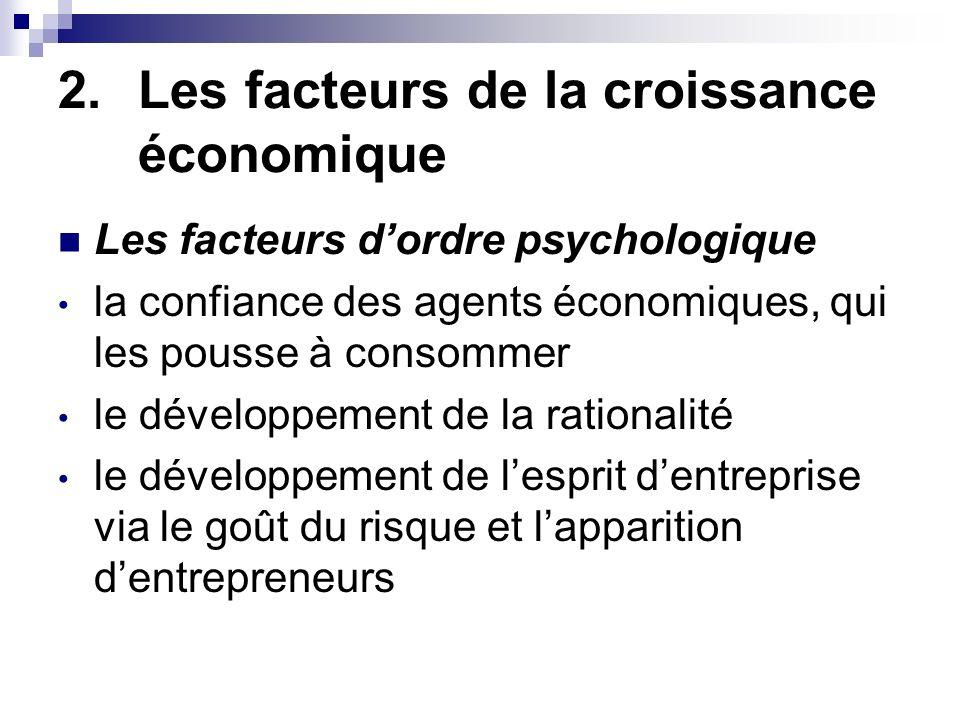2.Les facteurs de la croissance économique Le rôle de lEtat LEtat, par son action, peut contribuer à la croissance économique en : mettant en place des infrastructures mettant en place des mesures visant à internaliser les externalités promouvant la concurrence en luttant contre les monopoles