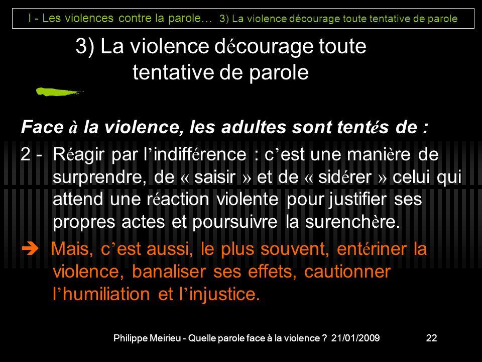 Philippe Meirieu - Quelle parole face à la violence .