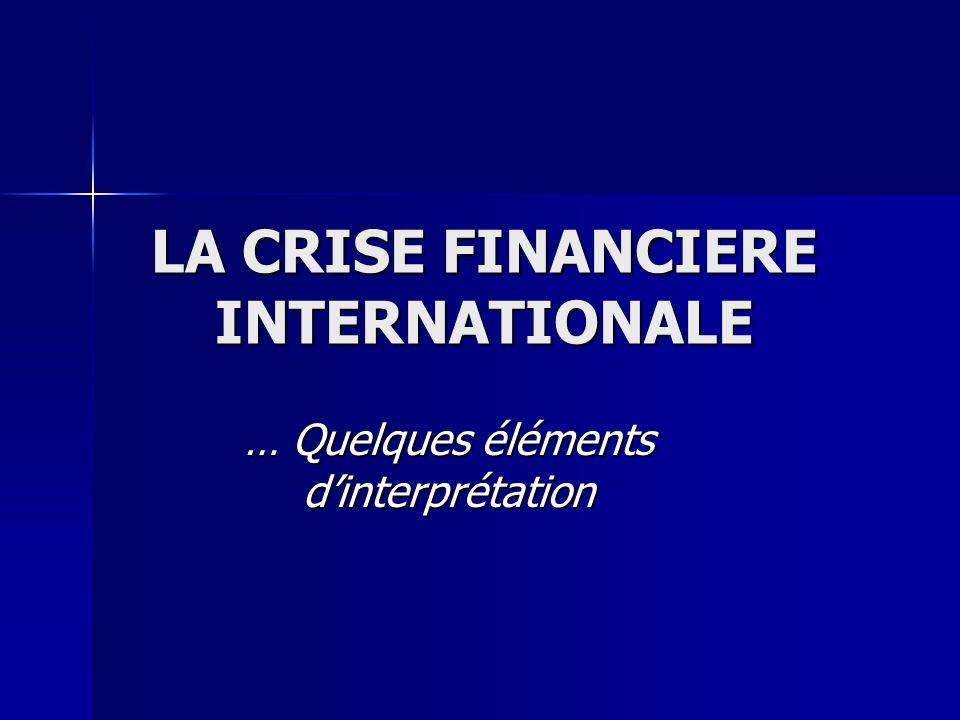 I- Les facteurs à lorigine de la crise 1) Les facteurs macroéconomiques