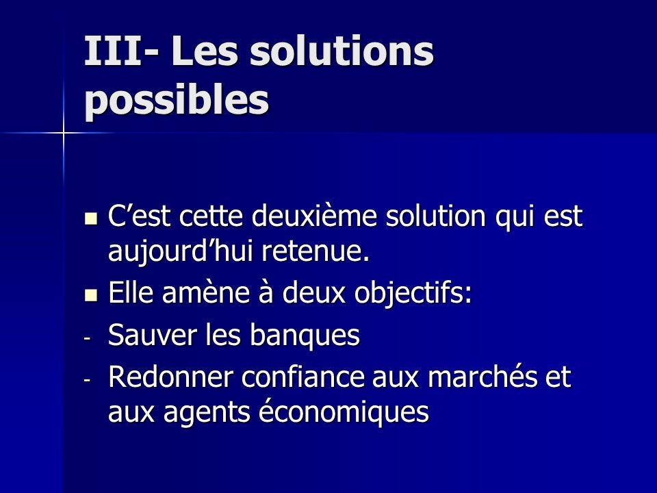 III- Les solutions possibles Cest cette deuxième solution qui est aujourdhui retenue. Cest cette deuxième solution qui est aujourdhui retenue. Elle am