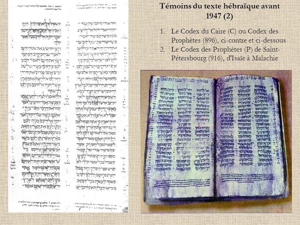1.Le Codex du Caire (C) ou Codex des Prophètes (896), ci-contre et ci-dessous 2.Le Codex des Prophètes (P) de Saint- Pétersbourg (916), d'Isaïe à Mala