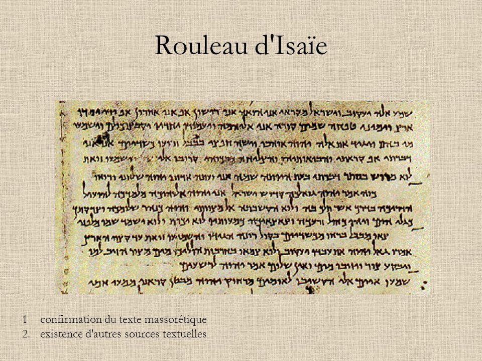 Rouleau d'Isaïe 1confirmation du texte massorétique 2. existence d'autres sources textuelles