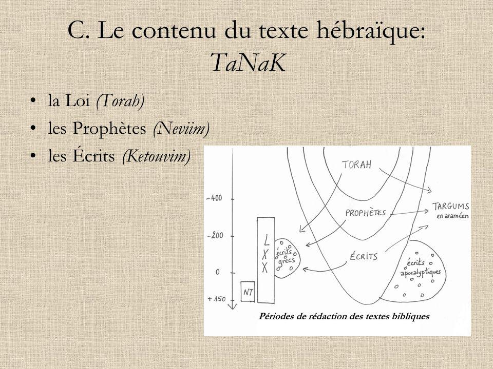 C. Le contenu du texte hébraïque: TaNaK la Loi (Torah) les Prophètes (Neviim) les Écrits (Ketouvim)