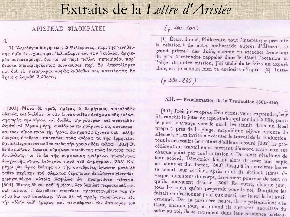 Extraits de la Lettre d'Aristée