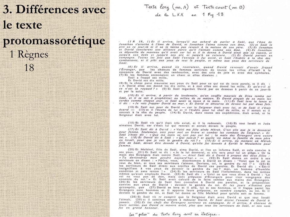 1 Règnes 18 3. Différences avec le texte protomassorétique
