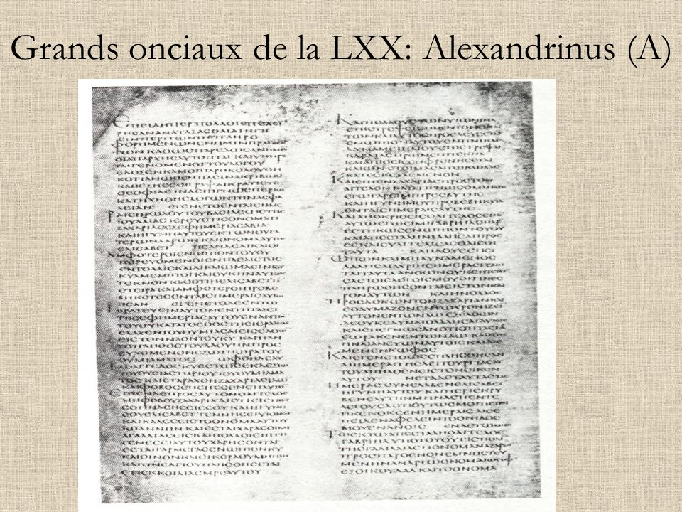 Grands onciaux de la LXX: Alexandrinus (A)