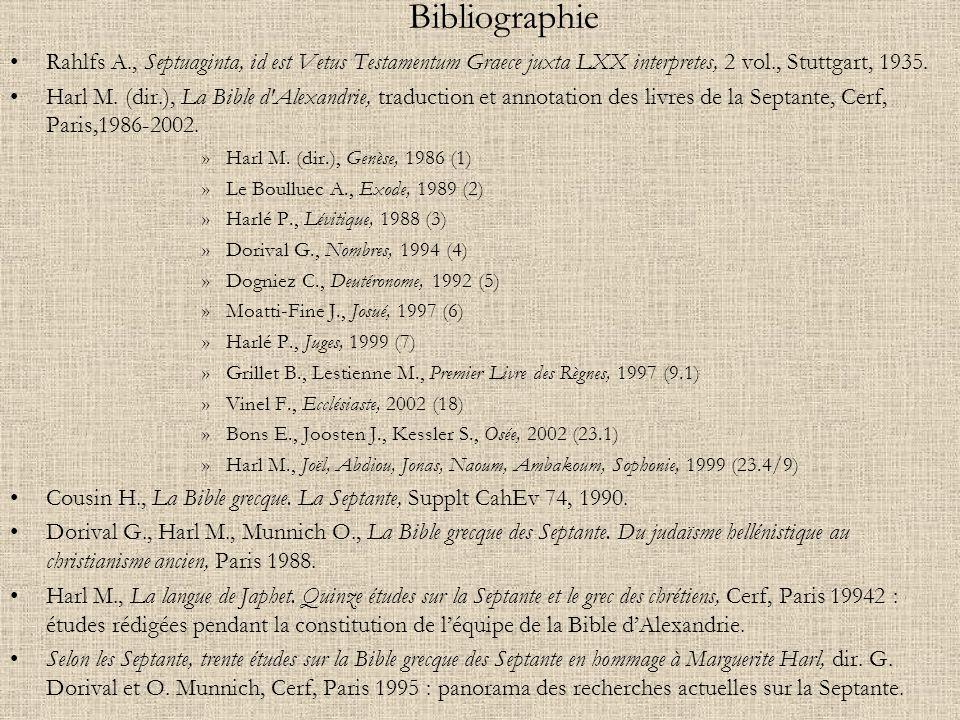 Bibliographie Rahlfs A., Septuaginta, id est Vetus Testamentum Graece juxta LXX interpretes, 2 vol., Stuttgart, 1935. Harl M. (dir.), La Bible d'Alexa