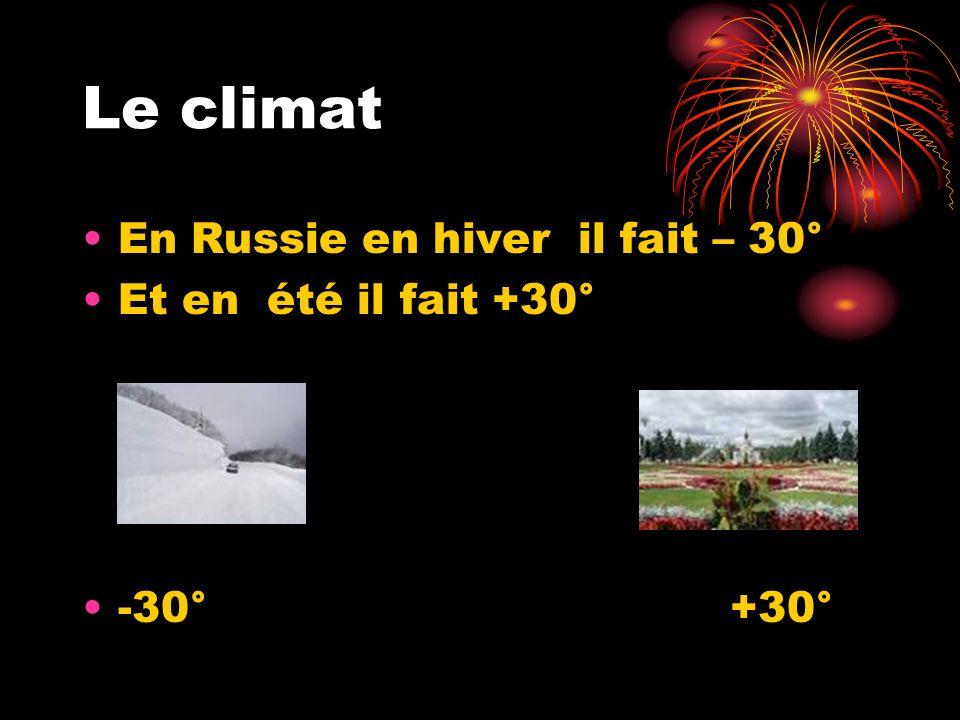 Le climat En Russie en hiver il fait – 30° Et en été il fait +30° -30° +30°