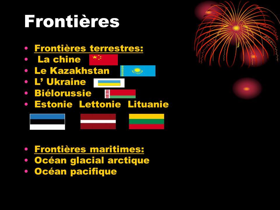 Frontières Frontières terrestres: La chine Le Kazakhstan L Ukraine Biélorussie Estonie Lettonie Lituanie Frontières maritimes: Océan glacial arctique