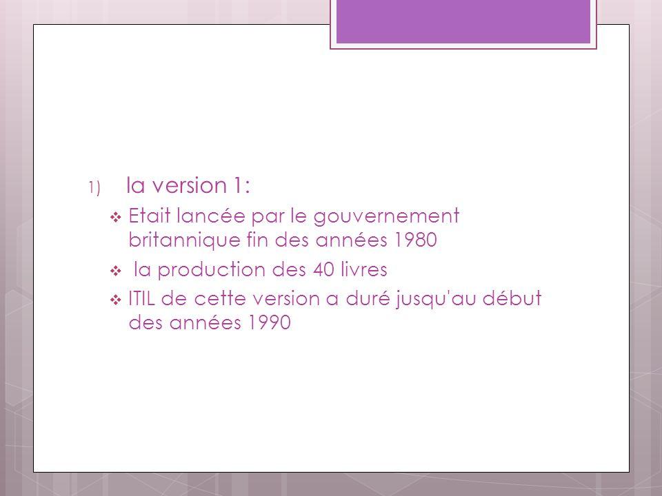 1) la version 1: Etait lancée par le gouvernement britannique fin des années 1980 la production des 40 livres ITIL de cette version a duré jusqu au début des années 1990