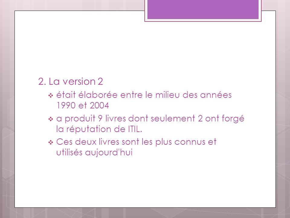 2. La version 2 était élaborée entre le milieu des années 1990 et 2004 a produit 9 livres dont seulement 2 ont forgé la réputation de ITIL. Ces deux l