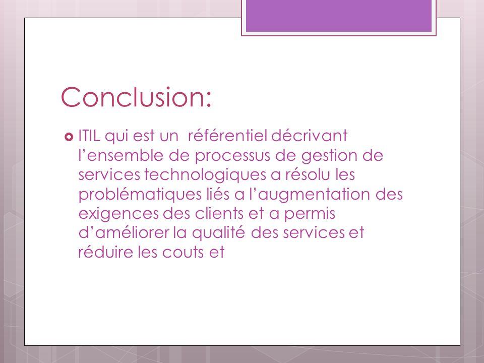 Conclusion: ITIL qui est un référentiel décrivant lensemble de processus de gestion de services technologiques a résolu les problématiques liés a laugmentation des exigences des clients et a permis daméliorer la qualité des services et réduire les couts et
