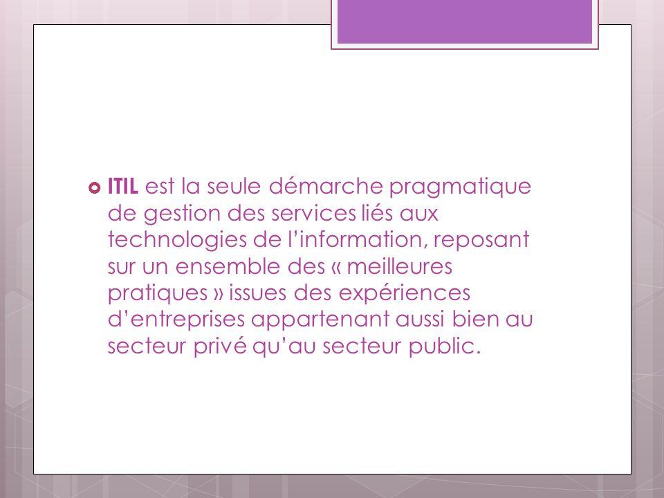 ITIL est la seule démarche pragmatique de gestion des services liés aux technologies de linformation, reposant sur un ensemble des « meilleures pratiques » issues des expériences dentreprises appartenant aussi bien au secteur privé quau secteur public.