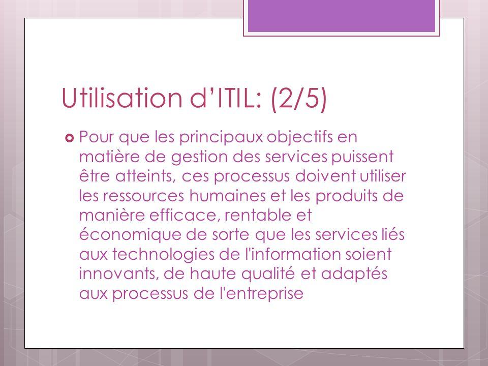 Utilisation dITIL: (2/5) Pour que les principaux objectifs en matière de gestion des services puissent être atteints, ces processus doivent utiliser les ressources humaines et les produits de manière efficace, rentable et économique de sorte que les services liés aux technologies de l information soient innovants, de haute qualité et adaptés aux processus de l entreprise