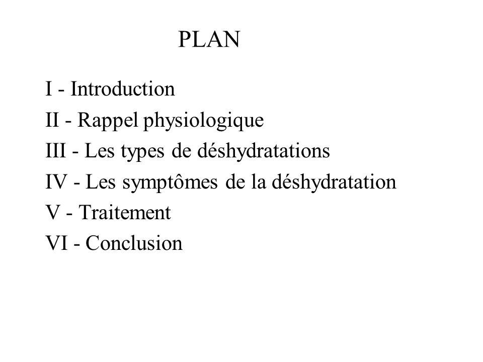 IV – Les symptômes de déshydratation C - Les complications Hypovolémie par DEC Malaise etou chute par hypotension orthostatique Tachycardie Insuffisance rénale fonctionnelle Risques dinfection urinaire Risque dischémie, de thrombose veineuse Complications liés à lalitement Décès