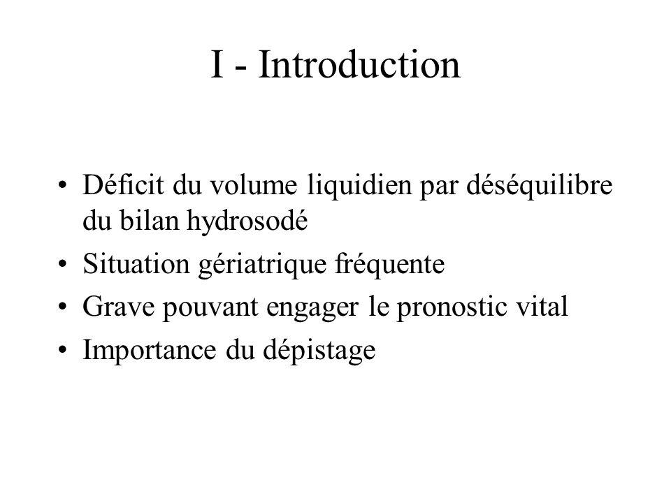I - Introduction Déficit du volume liquidien par déséquilibre du bilan hydrosodé Situation gériatrique fréquente Grave pouvant engager le pronostic vital Importance du dépistage