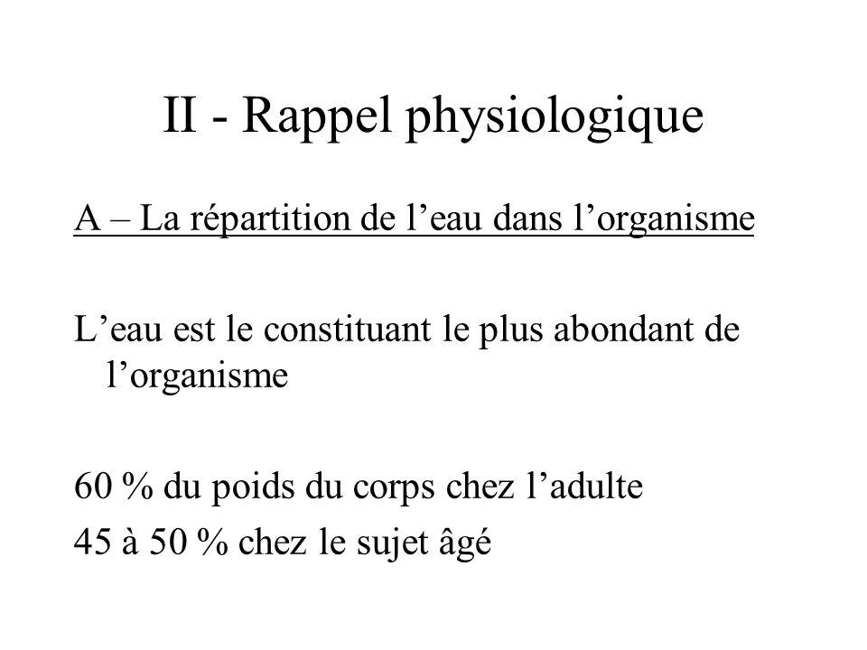 II - Rappel physiologique A – La répartition de leau dans lorganisme Leau est le constituant le plus abondant de lorganisme 60 % du poids du corps chez ladulte 45 à 50 % chez le sujet âgé