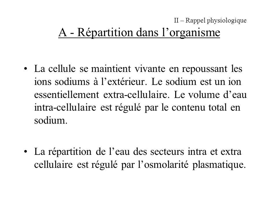 II – Rappel physiologique A - Répartition dans lorganisme La cellule se maintient vivante en repoussant les ions sodiums à lextérieur.