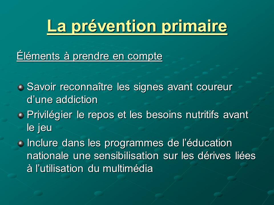 La prévention primaire Éléments à prendre en compte Savoir reconnaître les signes avant coureur dune addiction Privilégier le repos et les besoins nut
