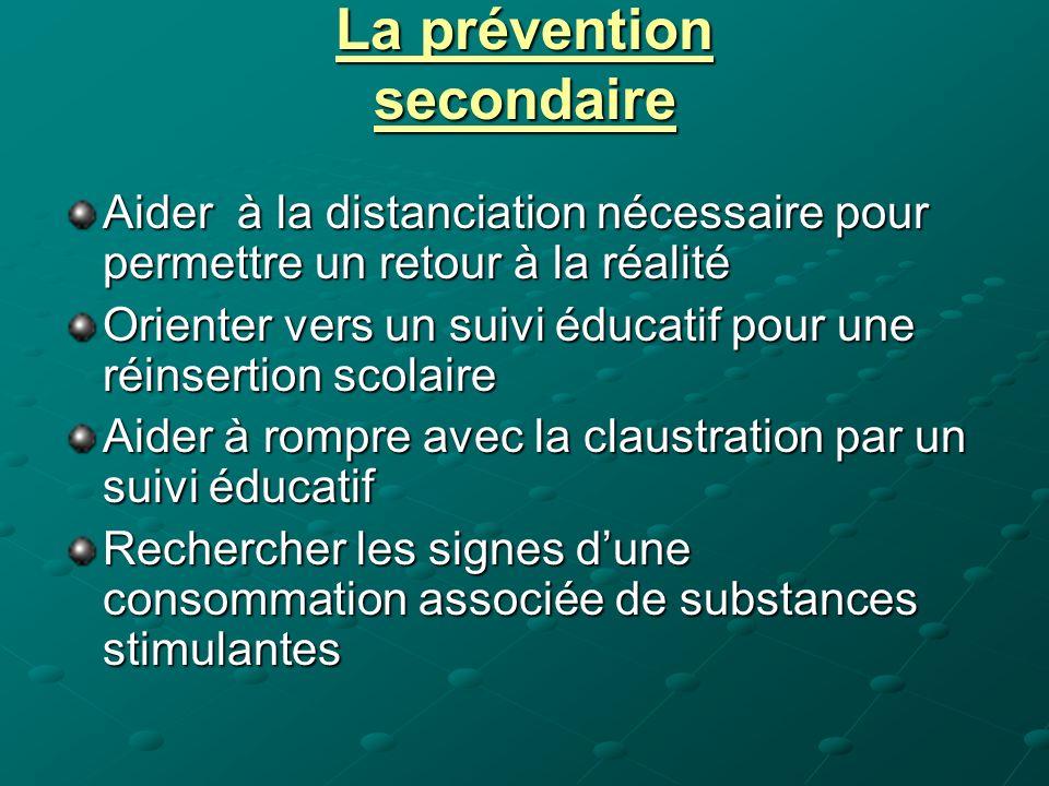 La prévention secondaire Aider à la distanciation nécessaire pour permettre un retour à la réalité Orienter vers un suivi éducatif pour une réinsertio