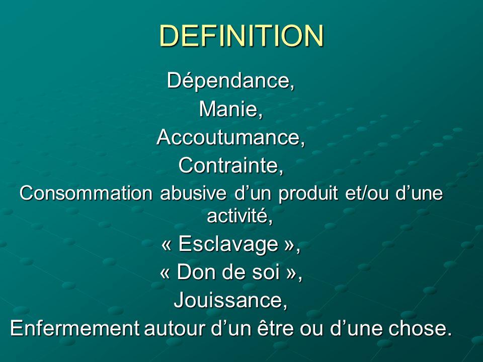 DEFINITION Dépendance,Manie,Accoutumance,Contrainte, Consommation abusive dun produit et/ou dune activité, « Esclavage », « Don de soi », Jouissance,