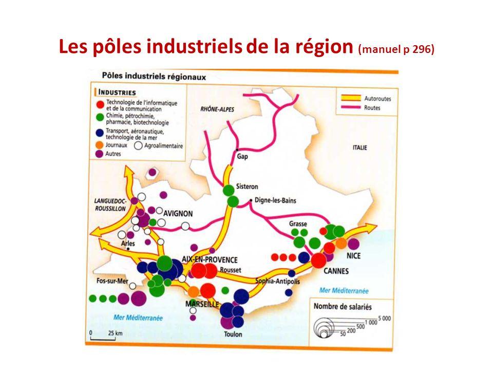 Les pôles industriels de la région (manuel p 296)