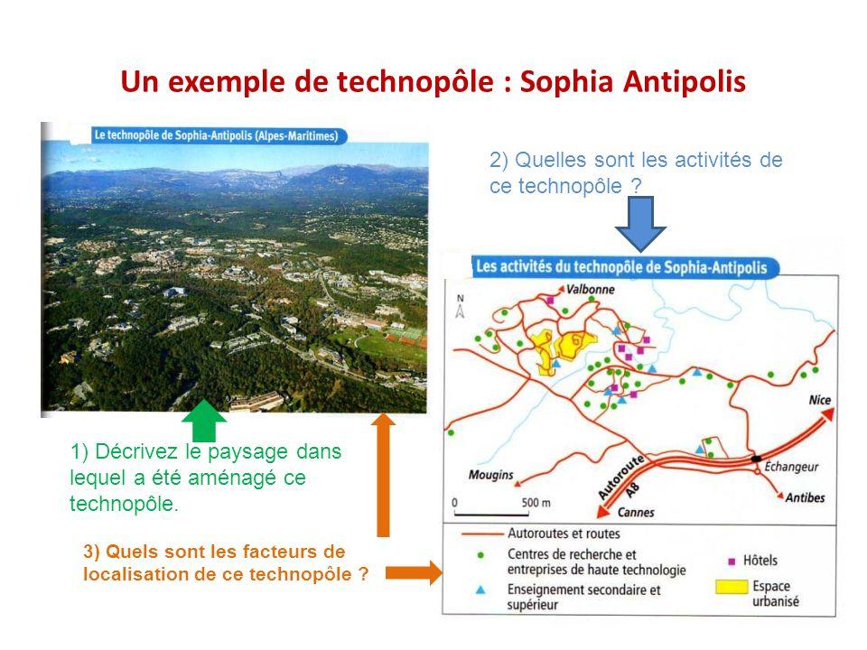 Un exemple de technopôle : Sophia Antipolis 1) Décrivez le paysage dans lequel a été aménagé ce technopôle. 2) Quelles sont les activités de ce techno
