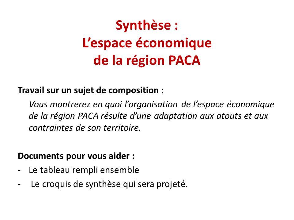 Synthèse : Lespace économique de la région PACA Travail sur un sujet de composition : Vous montrerez en quoi lorganisation de lespace économique de la