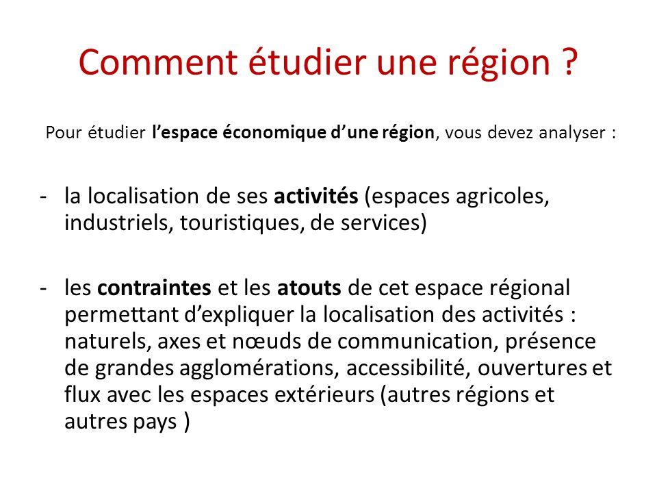 Comment étudier une région ? Pour étudier lespace économique dune région, vous devez analyser : -la localisation de ses activités (espaces agricoles,