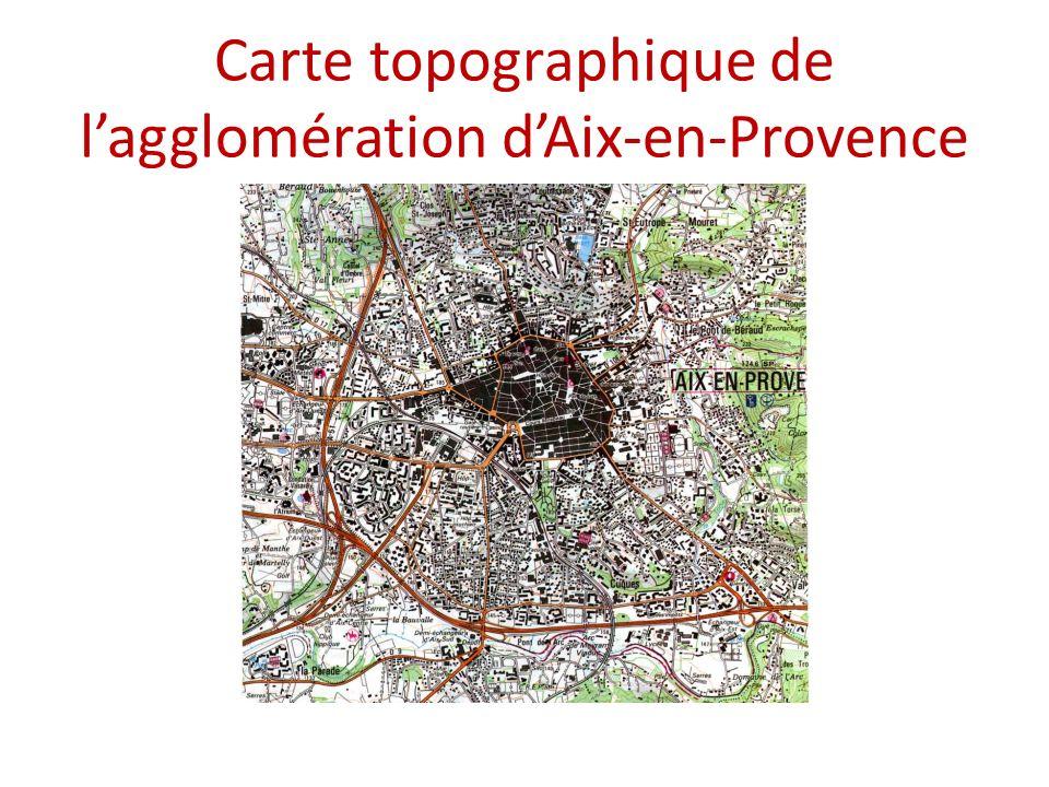 Carte topographique de lagglomération dAix-en-Provence