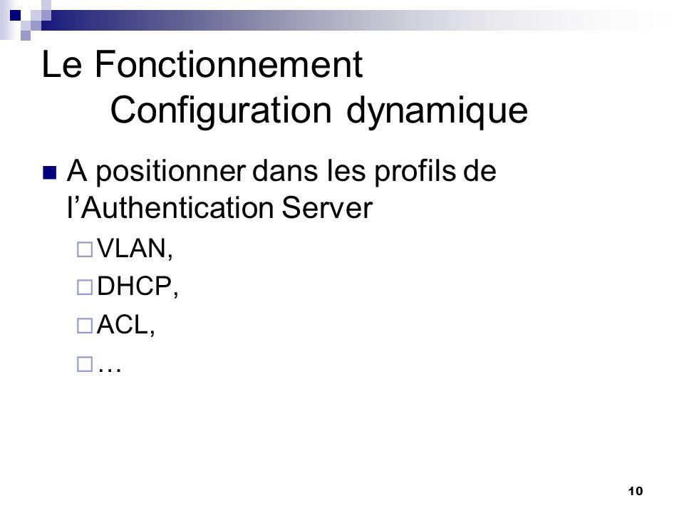 10 Le Fonctionnement Configuration dynamique A positionner dans les profils de lAuthentication Server VLAN, DHCP, ACL, …