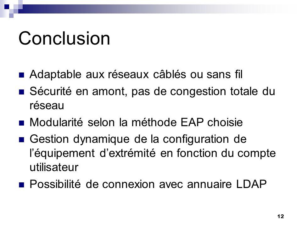 12 Conclusion Adaptable aux réseaux câblés ou sans fil Sécurité en amont, pas de congestion totale du réseau Modularité selon la méthode EAP choisie G